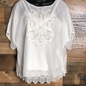 WHITE HOUSE BLACK MARKET embroidered top/cami | S